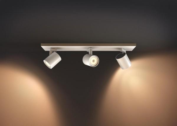 Philips Hue LED 3-er Spot Runner inkl. Dimmschalter, dimmbar, alle Weißschattierungen, weiß