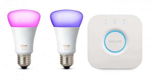 Philips Hue White und Color Ambiance E27 LED Lampe Starter Set, 2 Lampen inkl. Bridge Energieklasse