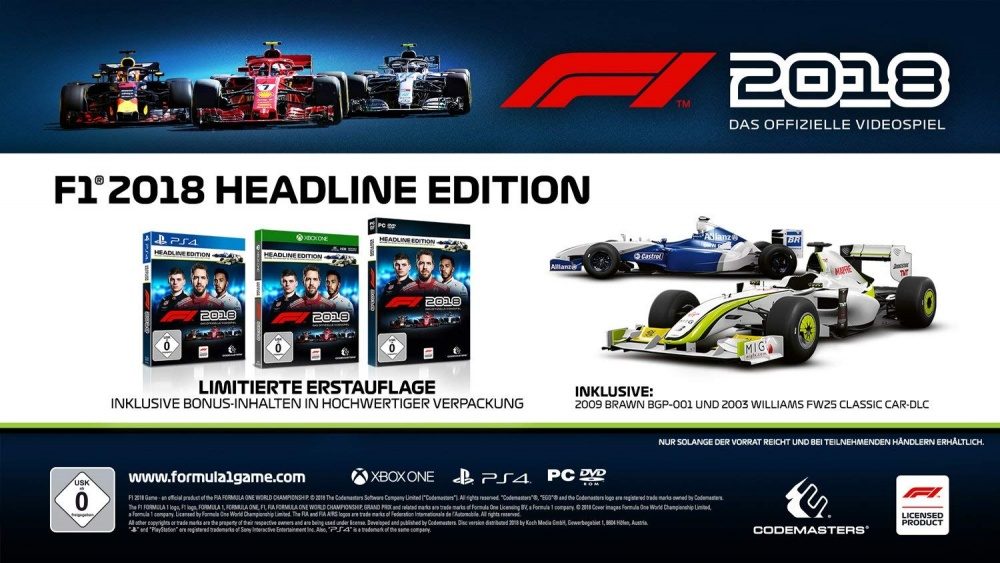 f1 2018 headline edition ps4 spiel formel 1 2018. Black Bedroom Furniture Sets. Home Design Ideas